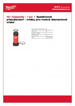 MILWAUKEE System accessories- Wet diamond drilling Nádrž na vodu WT 10. Ocelová nádrž na vodu s objemem 10 litrů, s vnitřním a vnějším polyesterovým povlakem. Spolehlivé mosazné čerpadlo s maximálním tlakem 6 bar.  2,5 m hadice se systémem rychlého připoj