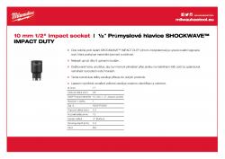 """MILWAUKEE ½"""" impact sockets - std Průmyslová hlavice 10 mm ½″ 4932478035 A4 PDF"""