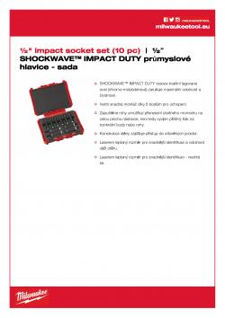 "MILWAUKEE ½"" impact socket sets ½″ SHOCKWAVE™ IMPACT DUTY sada prodloužených hlavic 10 ks 4932352861 A4 PDF"
