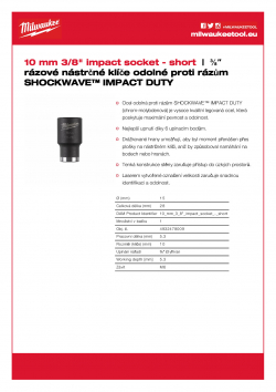 "MILWAUKEE 3/8"" impact sockets - std Nástrčný rázový klíč 10 mm ⅜″ 4932478009 A4 PDF"