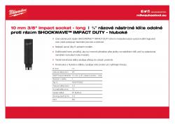 "MILWAUKEE 3/8"" impact sockets - deep Nástrčný rázový klíč 10 mm ⅜″ - hluboký 4932478022 A4 PDF"
