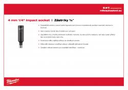 """MILWAUKEE ¼"""" impact sockets - deep Průmyslová hlavice 4 mm ¼″ - prodloužená 4932472283 A4 PDF"""