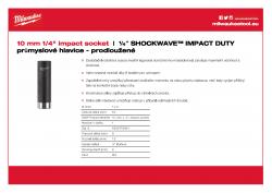 """MILWAUKEE ¼"""" impact sockets - deep Průmyslová hlavice 10 mm ¼″ - prodloužená 4932478004 A4 PDF"""