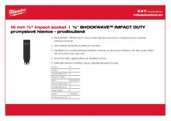"""MILWAUKEE ½"""" impact sockets - deep 10 mm ½"""" průmyslová hlavice prodloužená 4932352848 A4 PDF"""