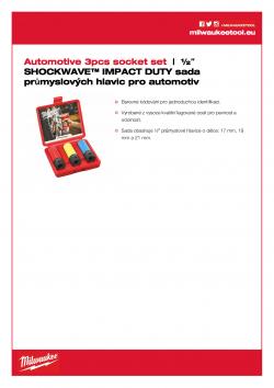 """MILWAUKEE ½"""" automotive socket set Sada průmyslových hlavic pro automotive (3 ks) 4932451568 A4 PDF"""