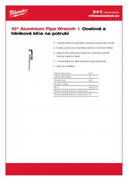 MILWAUKEE Pipe wrenches Hliníkový klíč na potrubí 250 mm 48227210 A4 PDF