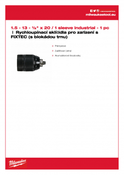 MILWAUKEE Keyless Chucks for FIXTEC machines  4932371913 A4 PDF