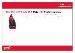 MILWAUKEE Hydraulic Oil Náhradní olej pro M18 HUP700 4932472004 A4 PDF