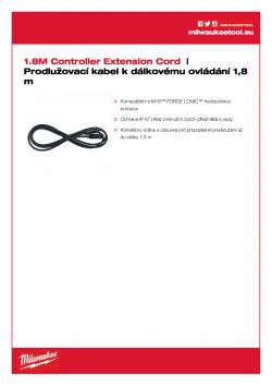 MILWAUKEE Controller Extension Cord Prodlužovací kabel k dálkovému ovládání 1,8 m 49122775 A4 PDF