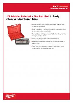 MILWAUKEE Ratchet + Socket Set Sada ráčny ½″ a metrických nástrčných klíčů (28 ks) 4932471864 A4 PDF