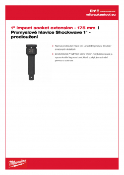 """MILWAUKEE 1"""" socket extensions 1"""" prodloužení - 175 mm 4932471675 A4 PDF"""