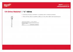 MILWAUKEE 1/4 Drive Ratchet ½″ ráčna 48229014 A4 PDF
