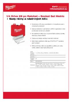 MILWAUKEE Ratchet + Socket Set Sada ráčny 1/4″ a metrických nástrčných klíčů (28 ks) 4932464943 A4 PDF