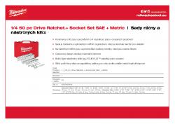 MILWAUKEE Ratchet + Socket Set Sada ráčny 1/4″ a metrických a coulových nástrčných klíčů (50 ks) 4932464944 A4 PDF