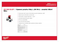 MILWAUKEE AS 300 ELCP Vysavač prachu třídy L (30 litrů) - snadné čištění filtru 4933416060 A4 PDF