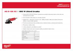 MILWAUKEE AG 9 Kompaktní 850 W 125 mm úhlová bruska 4933403200 A4 PDF