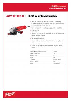 MILWAUKEE AGV 12 1200 W 125 mm úhlová bruska 4933428085 A4 PDF