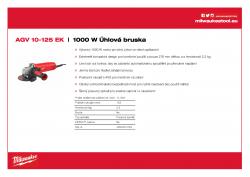 MILWAUKEE AGV 10 EK 1000 W Úhlová bruska 4933451222 A4 PDF
