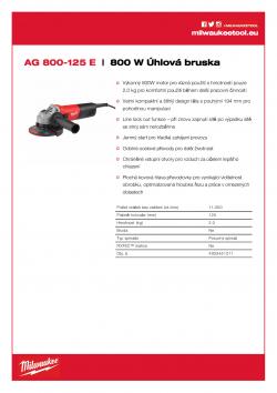 MILWAUKEE AG 800 E 800 W Úhlová bruska 4933451211 A4 PDF