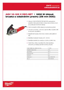 MILWAUKEE AGV 12 DEC 1200 W úhlová bruska s odsáváním prachu 4933448020 A4 PDF