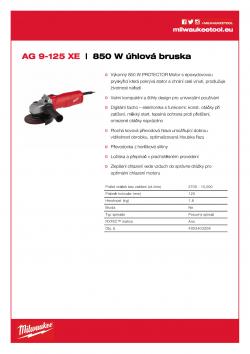 MILWAUKEE AG 9 Kompaktní 850 W 125 mm úhlová bruska 4933403206 A4 PDF