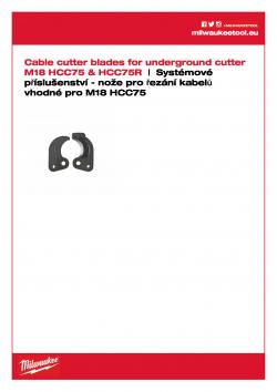 MILWAUKEE Cable Cutter Blades for Underground cutter M18 HCC75 Nože pro řezač zemních kabelů M18 HCC75 49162774 A4 PDF