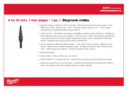 MILWAUKEE Step Drills 4 - 12 mm / 1˝ 48899301 A4 PDF