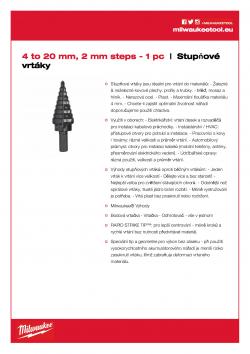 MILWAUKEE Step Drills 4 - 20 mm 48899320 A4 PDF