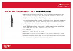 MILWAUKEE Step Drills 4 - 12 mm / 2˝ 48899302 A4 PDF