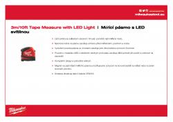 MILWAUKEE Tape Measure with LED Light Měřicí pásmo 3 m/10 ft s LED svítilnou 48226602 A4 PDF