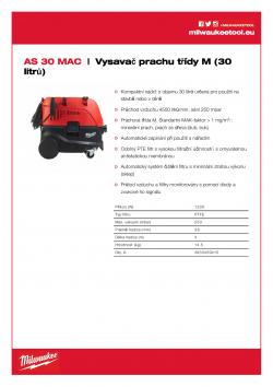 MILWAUKEE AS 30 MAC Vysavač prachu třídy M  (30 litrů) 4933459415 A4 PDF