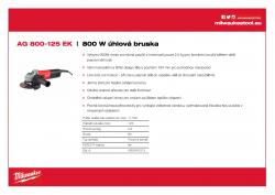 MILWAUKEE AG 800 EK 800 W Úhlová bruska 4933451213 A4 PDF