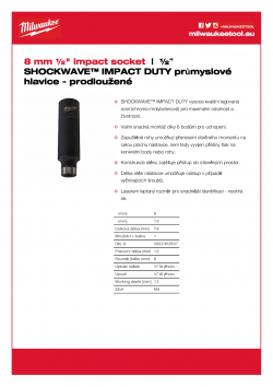 """MILWAUKEE ½"""" impact sockets - deep  4932352847 A4 PDF"""