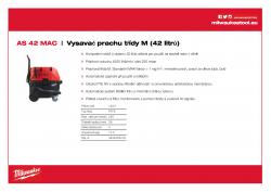MILWAUKEE AS 42 MAC Vysavač prachu třídy M (42 litrů) 4933459418 A4 PDF