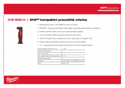 MILWAUKEE C18 RAD M18™ kompaktní pravoúhlá vrtačka 4933427189 A4 PDF