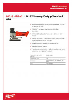 MILWAUKEE HD18 JSB M18™ Heavy Duty přímočará pila 4933417845 A4 PDF