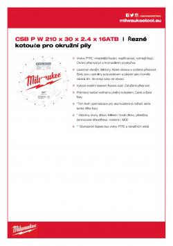 MILWAUKEE Circular saw blades for portable tools Gen II CSB MS W 210 x 30 x 2.4 x 16ATB 4932471324 A4 PDF