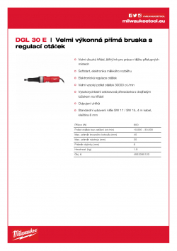 MILWAUKEE DGL 30 E Velmi výkonná, dvouruční přímá bruska s regulací otáček 4933385120 A4 PDF