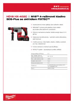 MILWAUKEE HD18 HX M18™ 4-režimové kladivo SDS-Plus se sklíčidlem FIXTEC™ 4933441280 A4 PDF