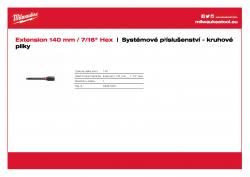 MILWAUKEE Holesaw System Attachments Prodloužení - délka 140 mm 48281030 A4 PDF