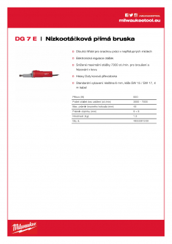 MILWAUKEE DG 7 E Nízkootáčková příma bruska 4933391200 A4 PDF