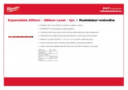 MILWAUKEE Expandable Level Rozkládací 200 cm - 356 cm 4932471355 A4 PDF
