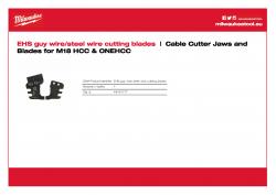 MILWAUKEE Cable Cutter Jaws and Blades for M18 HCC & ONEHCC Řezací nože pro EHS vodící/ocelový kabel 48442777 A4 PDF
