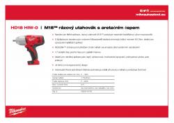 MILWAUKEE HD18 HIW M18™ rázový utahovák s aretačním čepem 4933416195 A4 PDF