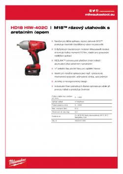 MILWAUKEE HD18 HIW M18™ rázový utahovák s aretačním čepem 4933441260 A4 PDF