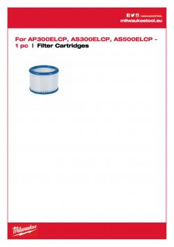 MILWAUKEE Filter Cartridges Filtr 4932352304 A4 PDF