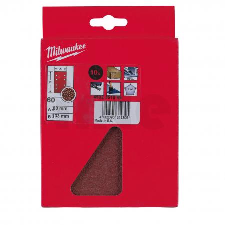 MILWAUKEE Brusný papír 80x133mm, zrnitost 60 -10 ks 4932351666
