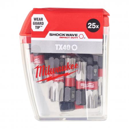 MILWAUKEE Šroubovací bity ShW TX40 25mm-25ks 4932430889