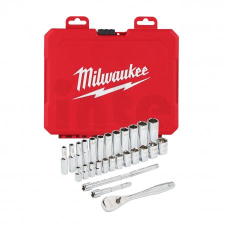 MILWAUKEE Sada ráčny 1/4˝ a metrických nástrčných klíčů (28 ks) 4932464943