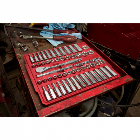 MILWAUKEE Sada ráčny 3/8˝ a metrických a coulových nástrčných klíčů (56 ks) 4932464946